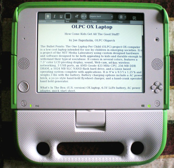 OLPC in tablet mode