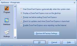 ZoomText Express Options
